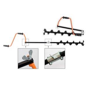 Ледобур Адмиралтейский тип R длинная спираль двойное сложение 2 ножа 130 мм