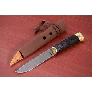 Нож Бичаг (полированный латунь граб)