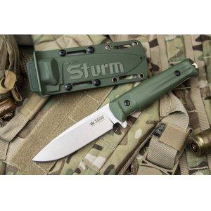 Нож Sturm AUS-8 S olv (Сатин, Олива рукоять, Олива чехол)