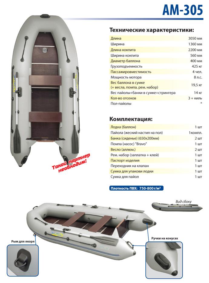 Лодка моторная Адмирал эконом класса АМ-305 Admiral Boats