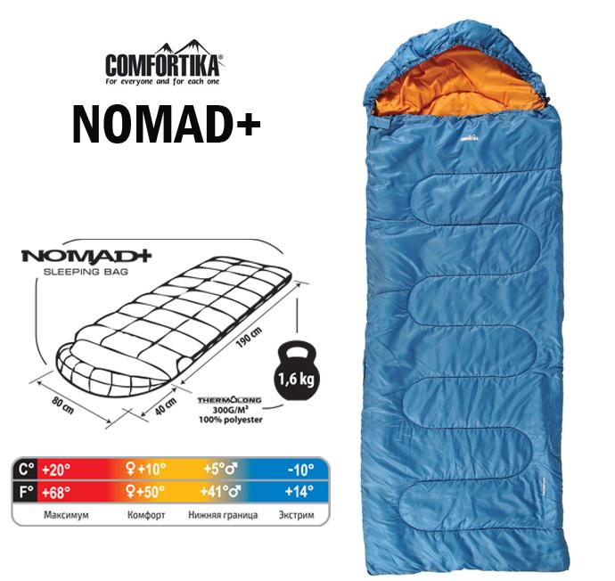 Спальник Comfortika Nomad Plus L 230х80х80 см с подголовником +10C/-10C
