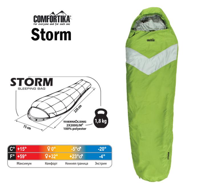 Спальник Comfortika Storm L 220x75x45 см с подголовником 0С/-20С