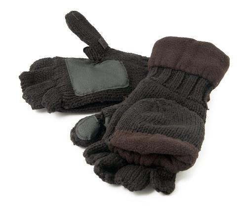 Рукавицы-перчатки TR 1064 с обрезанными пальцами вязанные с флисом тёмные Tagrider