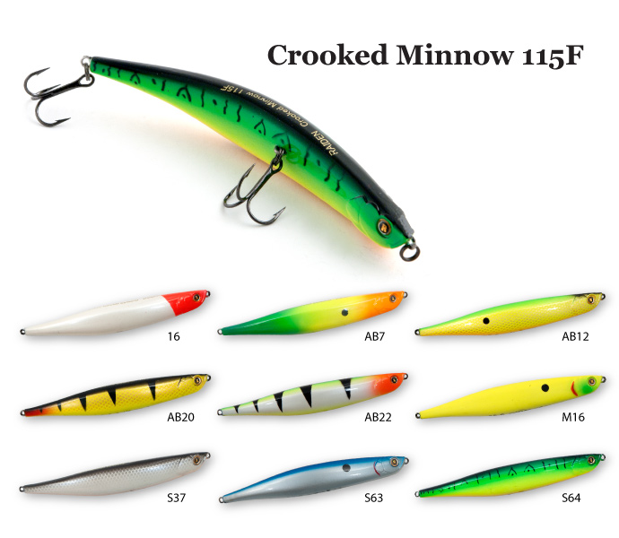 Воблер Raiden Crooked Minnow 115F