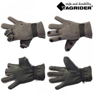 Перчатки Tagrider 095-7 неопреновые флис 3 откидных пальца темный графит