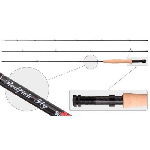 Удилище штекерное угольное нахлыстовое 3 колена Surf Master 3091 Red Fish Fly 4/5 class 2,74 м