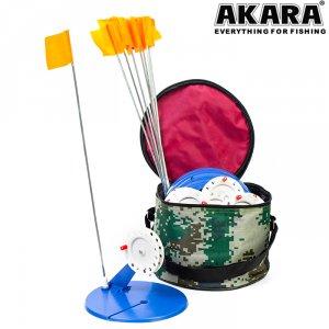 Жерлица зимняя Akara 96BG005 диаметр 20 см в сумке оснащеная (10 шт.)