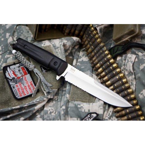Нож Alpha AUS-8 S (Сатин,Черная рукоять, Камо ножны)