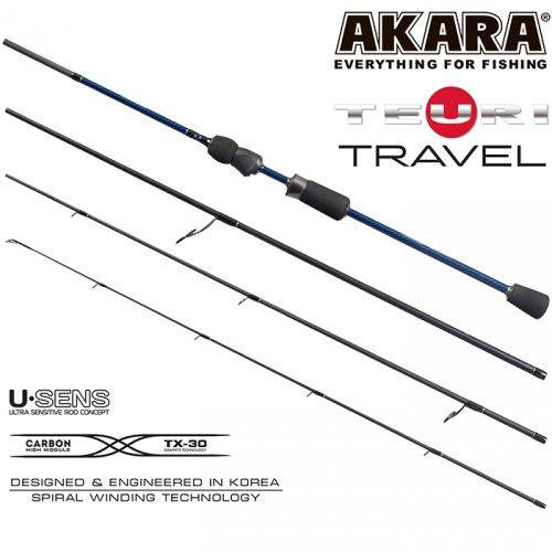 Спиннинг штекерный угольный 4 колена Akara Teuri Travel UL-ML