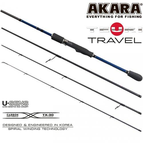 Спиннинг штекерный угольный 4 колена Akara Teuri Travel L-M