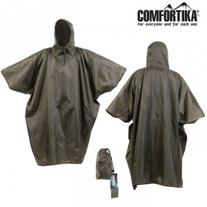 Плащ Comfortika Simple Poncho непромокаемый проклеенные швы хакки
