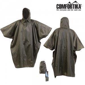 Плащ Comfortika Simple Poncho непромокаемый проклеенные швы хакки