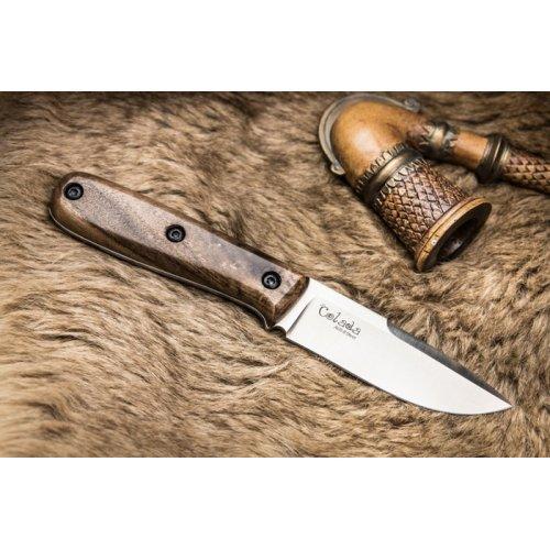 Нож Colada AUS-8 S (Сатин, Дерев. рукоять, Кожаный чехол)