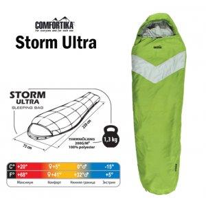 Спальник Comfortika Storm Ultra L 220x75x45 см с подголовником +5C/-15C