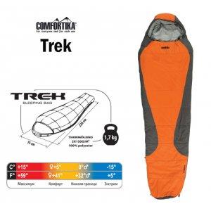Спальник Comfortika Trek R 220x75x45 см с подголовником +5C/-15C