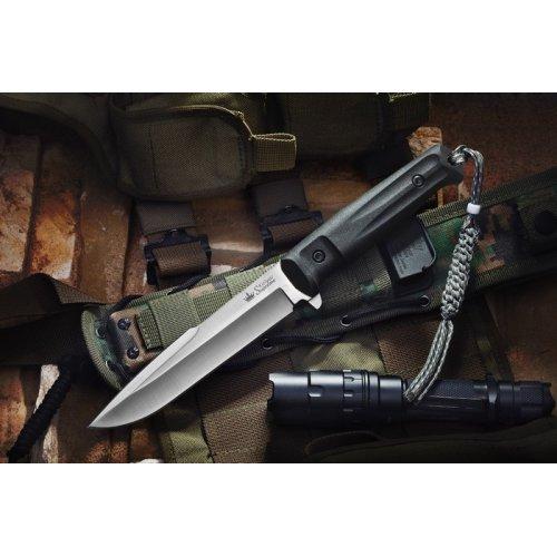 Нож Delta D2 S (Сатин, Черная рукоять, Камо ножны)