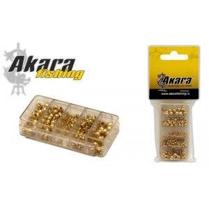 Набор головок мушинных Akara 7351 латунь GO с отв. (250 шт.)