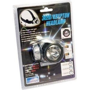 Фонарик налобный 3 светодиода + 1 лампа