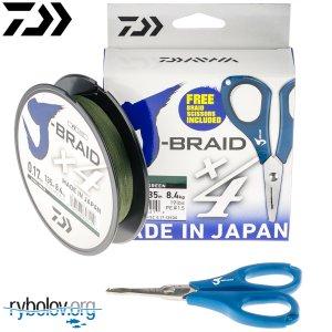 Шнур плетеный Daiwa J-Braid X4 зеленый + Ножницы в подарок!