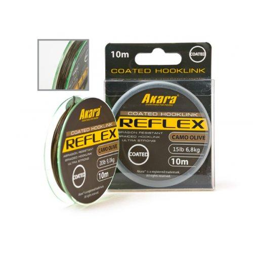Материал поводочный Akara Reflex Hooklink Camo Olive в оболочке 10 м