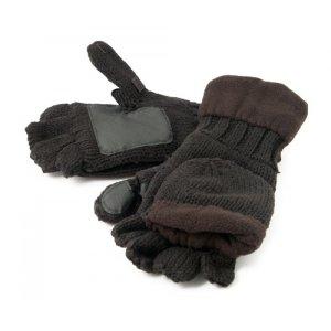 Рукавицы-перчатки TR 1064 с обрезанными пальцами вязанные с флисом тёмные