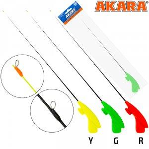 Удочка зимняя Akara RHS-Y3 зеленая (хлыст стеклопласт безкивковый мягкий с тремя кольцами)