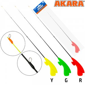 Удочка зимняя Akara RHS-Y3 красная (хлыст стеклопласт безкивковый мягкий с тремя кольцами)