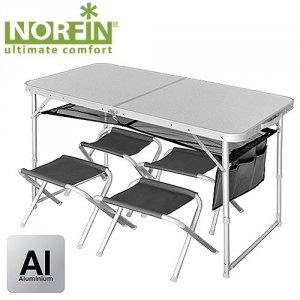 Стол складной Norfin Runn NF Alu 120x60 +4 стула набор
