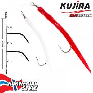 Снасточка морская Kujira Nord Sea №1 (2 Gum 8/0 Red-White)