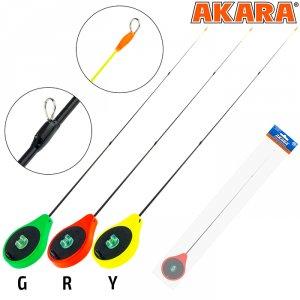 Удочка зимняя Akara SPS1-3R красная (хлыст стеклопласт короткий с тремя кольцами)