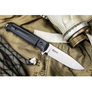 Нож Sturm AUS-8 S (Сатин, Черная рукоять, Черный чехол)