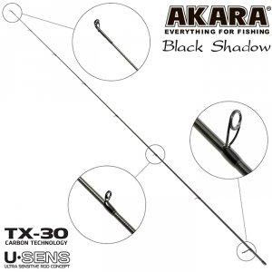 Хлыст угольный для спиннинга Akara SL1001 Black Shadow 762MLF TX-30 (3,5-10,5) 2,3 м