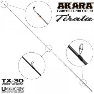 Хлыст угольный для спиннинга Akara SL1002 Tirata 762MLMF TX-30 (3,5-10,5) 2,3 м