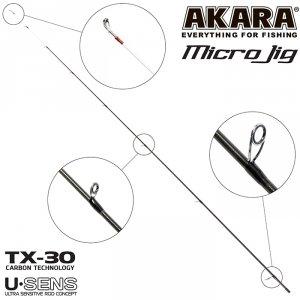 Хлыст угольный для спиннинга Akara SL1003 Micro Jig 702UL-T TX-30 (0,6-8) 2,1 м