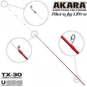 Хлыст угольный для спиннинга Akara SL1004 Micro Jig Ultra 762UL-S TX-30 (0,5-6) 2,3 м