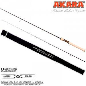 Спиннинг штекерный угольный Akara Trout E.L Sport UL (0,5-4,5) 1,98 м с цельной ручкой