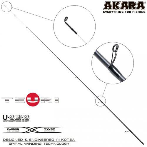 Хлыст угольный для спиннинга Akara Teuri S762UL (0,6-7) 2,3 м