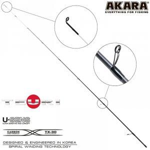 Хлыст угольный для спиннинга Akara Teuri S602UL (0,6-7) 1,83 м
