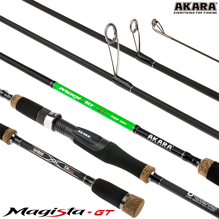 Спиннинг штекерный угольный 2 колена Akara Magista GT MH (10,5-35)