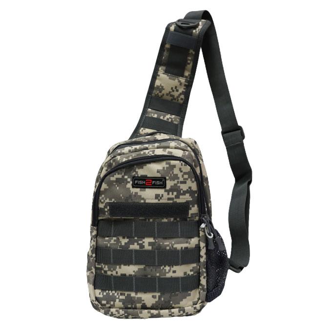 Сумка-рюкзак наплечная Fish2Fish City серая цифра 30x20x10 см