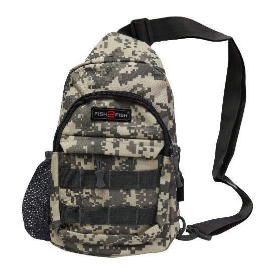 Сумка-рюкзак наплечная Fish2Fish City серая цифра 30x18x10 см