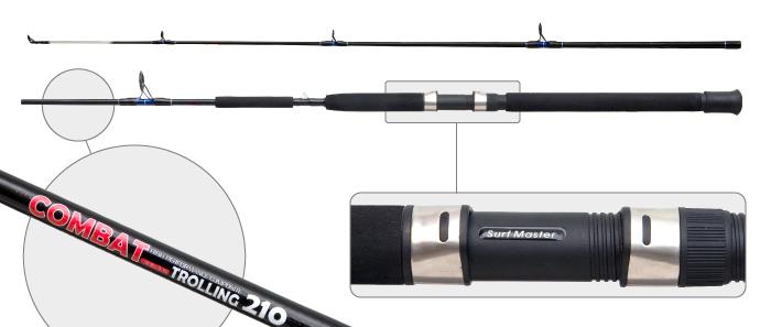 Спиннинг штекерный стекло 2 колена Surf Master 3063-S Combat Trolling под стакан с амортизатором