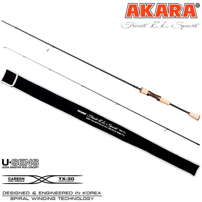 Спиннинг штекерный угольный Akara Trout E.L Sport UL (0,5-4,5) 1,98 м с разнесенной ручкой